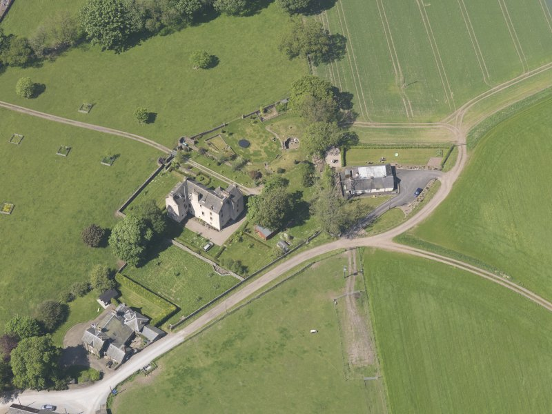 Oblique aerial view of Hatton Castle, taken from the SE.