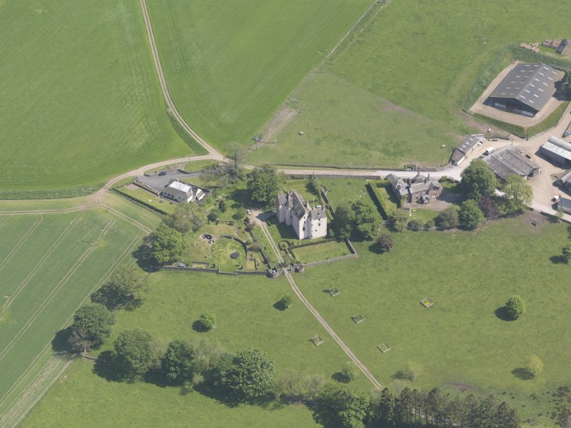 Oblique aerial view of Hatton Castle, taken from the WNW.