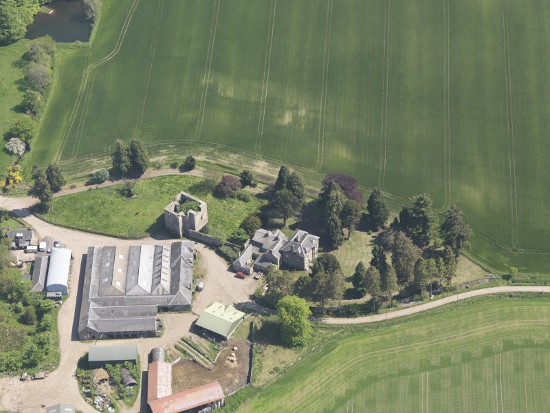 Oblique aerial view of Pitcur Castle, taken from the NW.