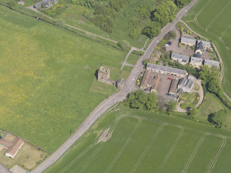 Oblique aerial view of Burleigh Castle, taken from the SW.