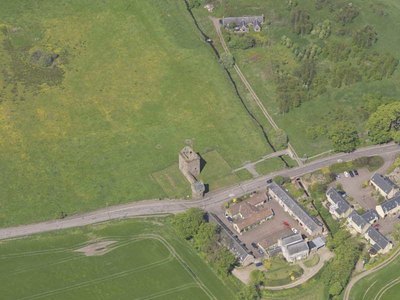 Oblique aerial view of Burleigh Castle, taken from the S.