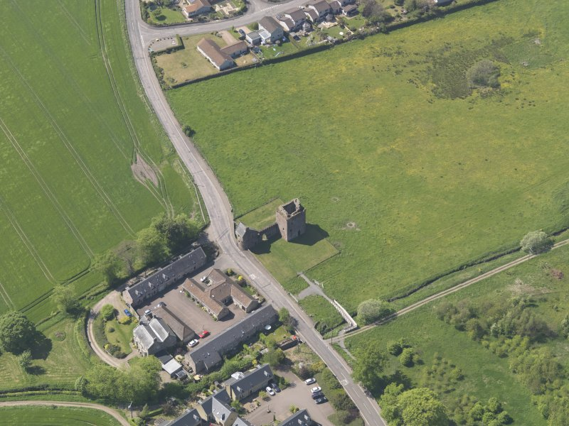 Oblique aerial view of Burleigh Castle, taken from the SE.