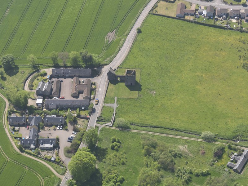 Oblique aerial view of Burleigh Castle, taken from the ENE.