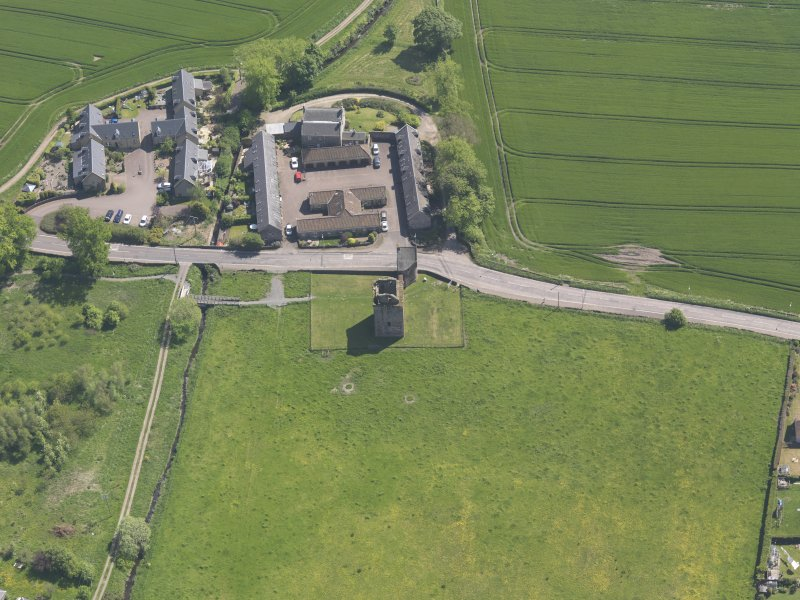 Oblique aerial view of Burleigh Castle, taken from the N.