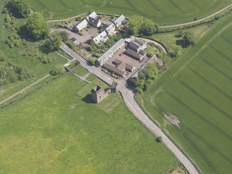 Oblique aerial view of Burleigh Castle, taken from the NW.