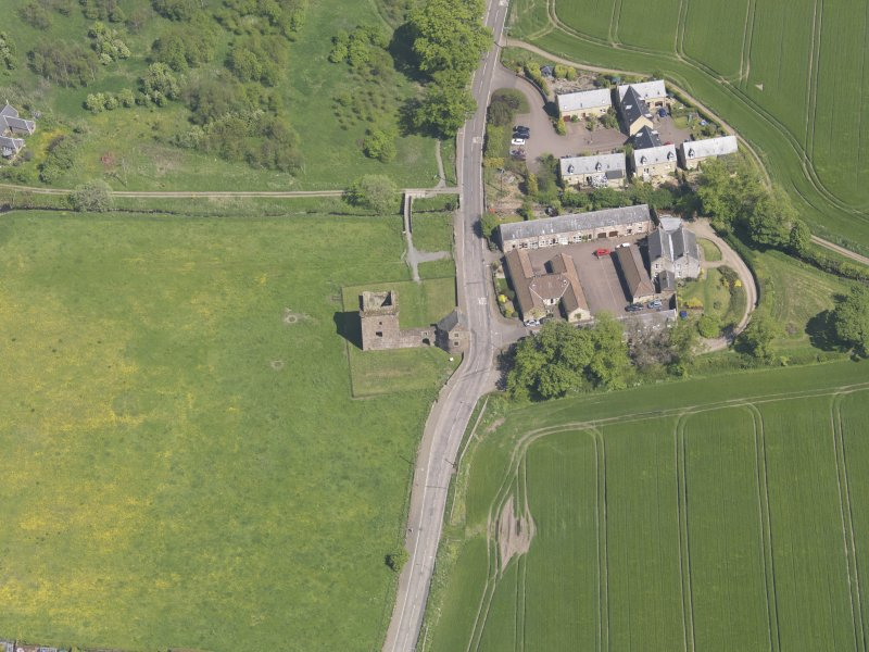 Oblique aerial view of Burleigh Castle, taken from the W.