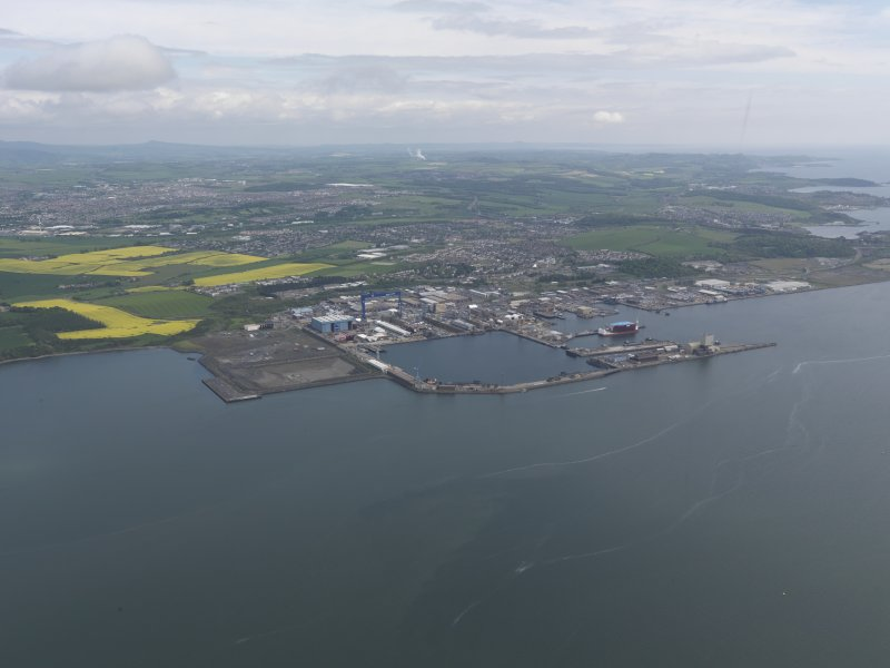 General oblique aerial view of Rosyth Dockyard, taken from the WNW.