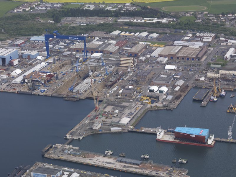 Oblique aerial view of Rosyth Dockyard, taken from the S.
