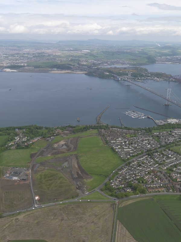 General oblique aerial view of the new Forth crossing works site, taken from the S.