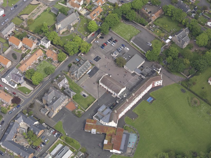 Oblique aerial view of Preston Grange Church, taken from the SSW.