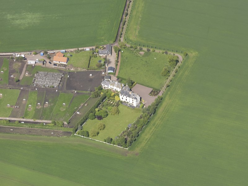 Oblique aerial view of Ballencrieff House, taken from the ENE.