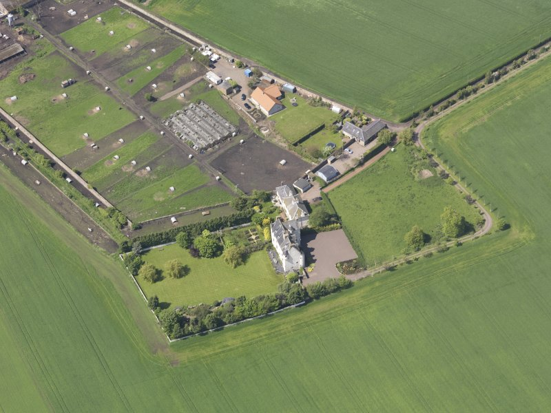 Oblique aerial view of Ballencrieff Granary, taken from the E.