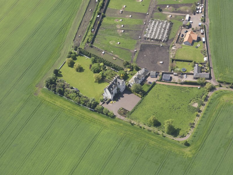 Oblique aerial view of Ballencrieff Granary, taken from the ENE.