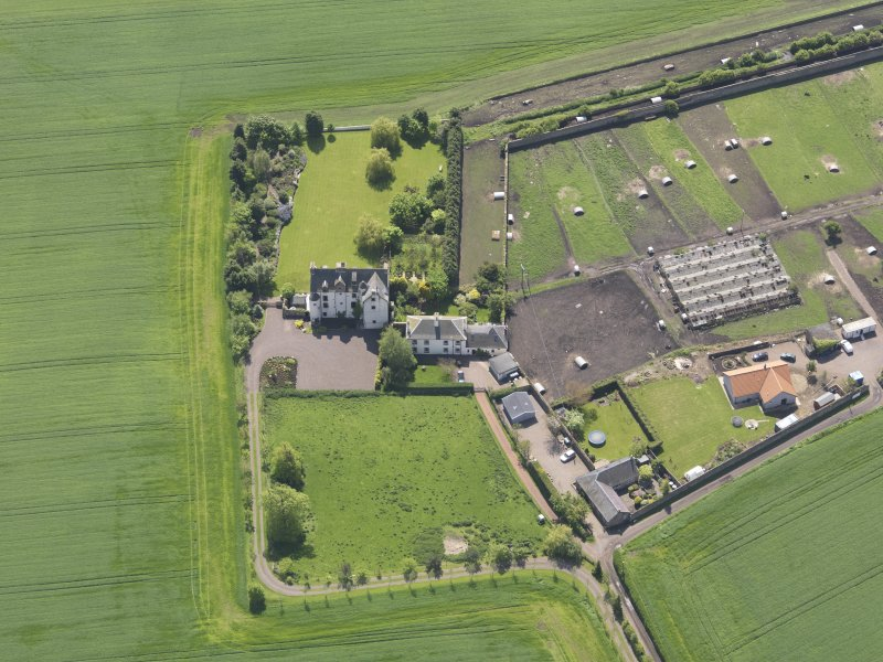 Oblique aerial view of Ballencrieff Granary, taken from the NNW.