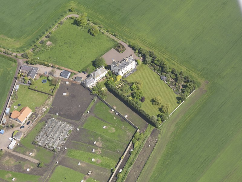 Oblique aerial view of Ballencrieff Granary, taken from the SW.