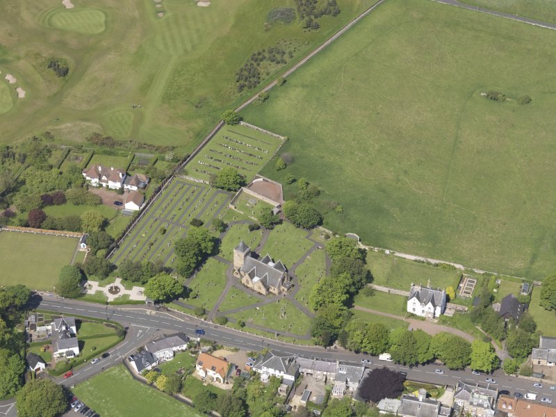Oblique aerial view of Aberlady Parish Church, taken from the SW.