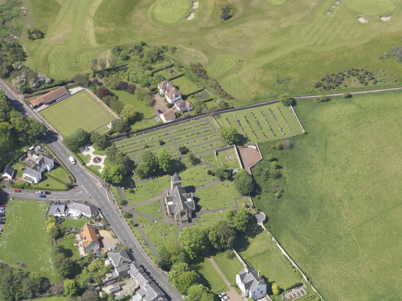 Oblique aerial view of Aberlady Parish Church, taken from the E.