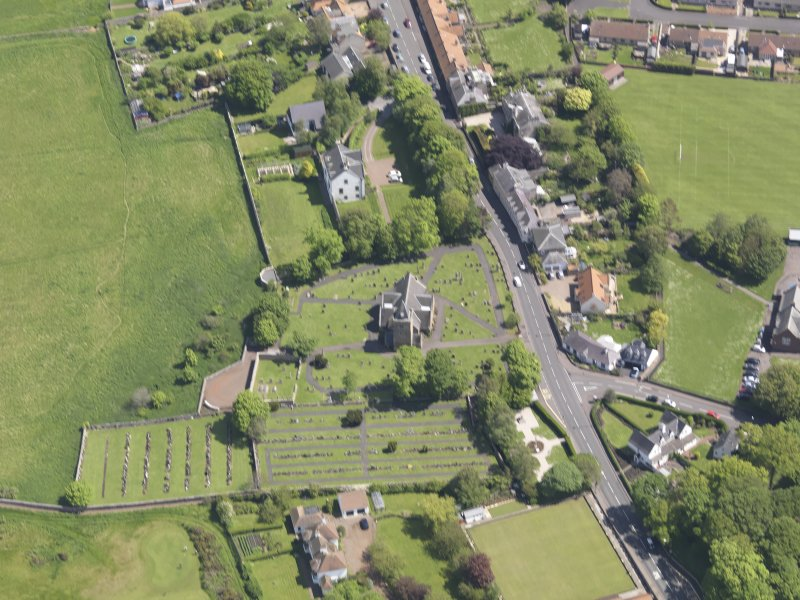 Oblique aerial view of Aberlady Parish Church, taken from the NNW.