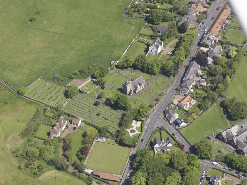 Oblique aerial view of Aberlady Parish Church, taken from the NW.