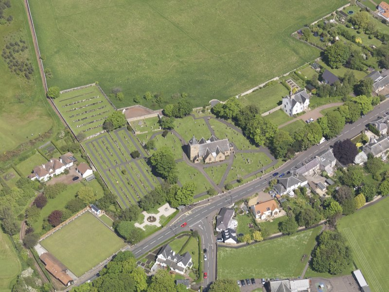 Oblique aerial view of Aberlady Parish Church, taken from the W.