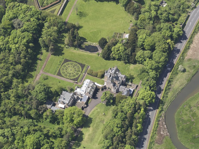 Oblique aerial view of Luffness House, taken from the E.