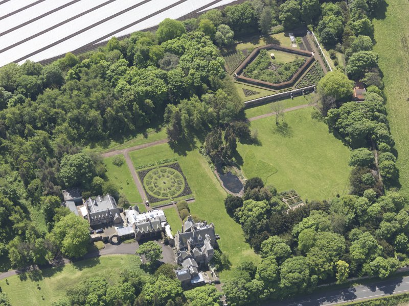 Oblique aerial view of Luffness House, taken from the NNE.