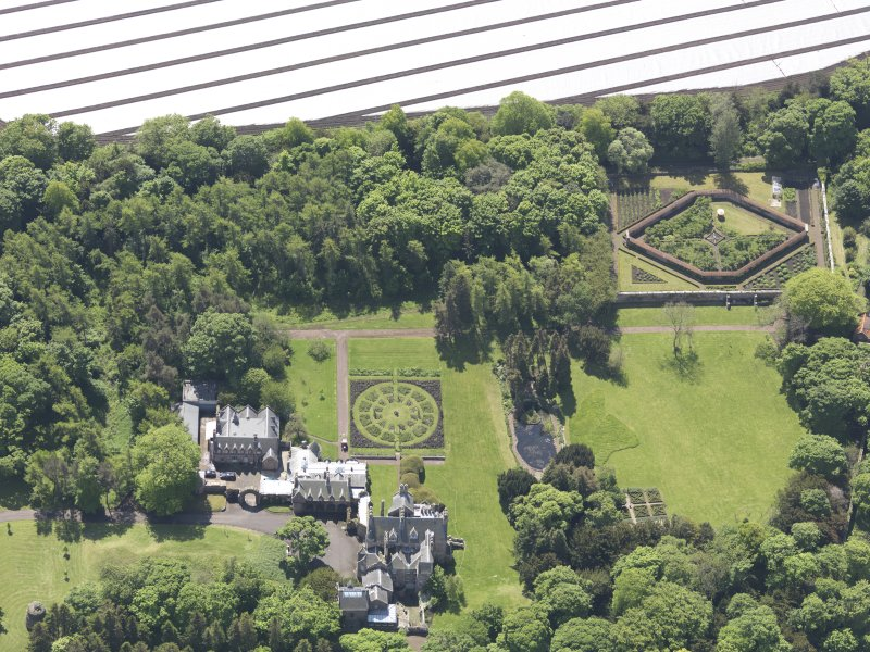 Oblique aerial view of Luffness House, taken from the N.