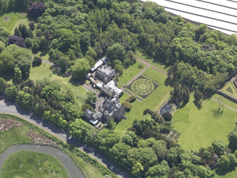 Oblique aerial view of Luffness House, taken from the NW.
