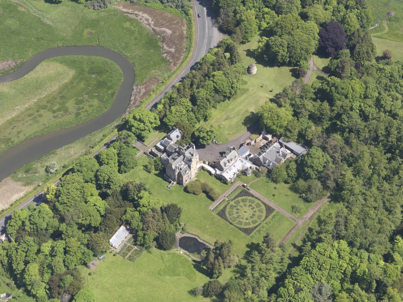 Oblique aerial view of Luffness House, taken from the SW.