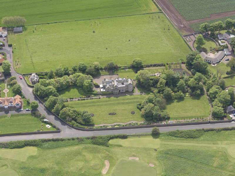 Oblique aerial view of Bunkerhill House, taken from the N.