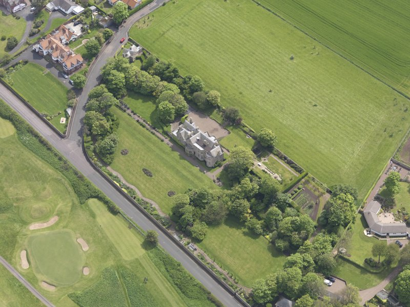 Oblique aerial view of Bunkerhill House, taken from the NNW.