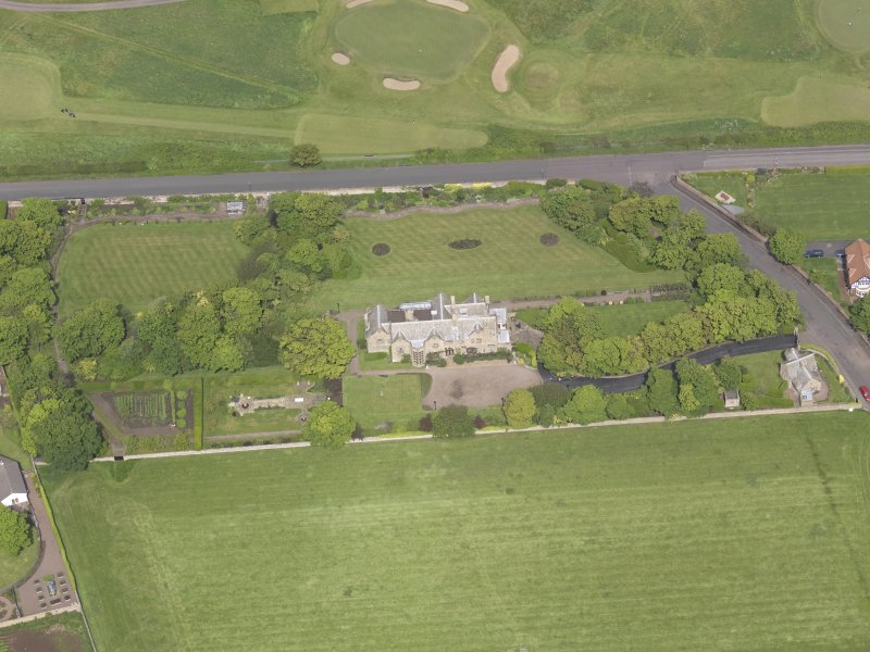 Oblique aerial view of Bunkerhill House, taken from the S.