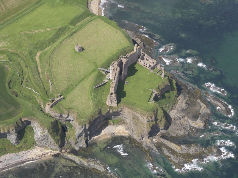 Oblique aerial view of Tantallon Castle and the dovecot, taken 2012.