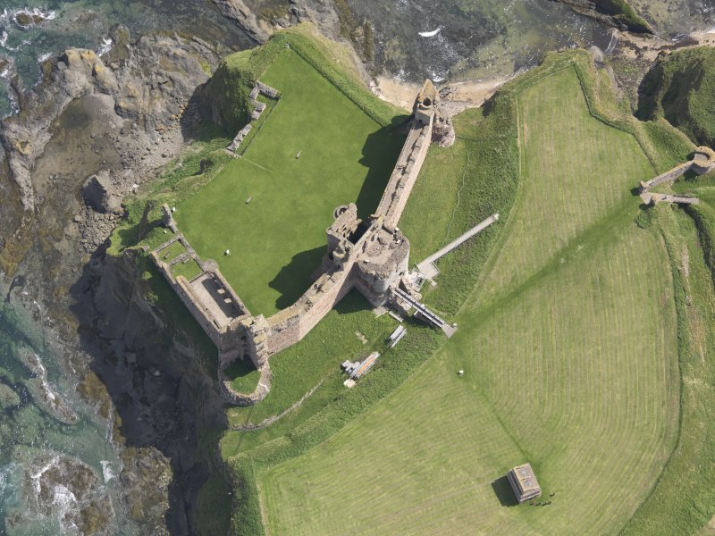 Oblique aerial view of Tantallon Castle, taken from the W.