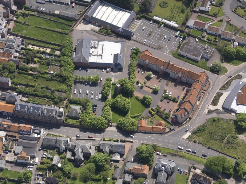 Oblique aerial view of Friarscroft Priory, taken from the N.