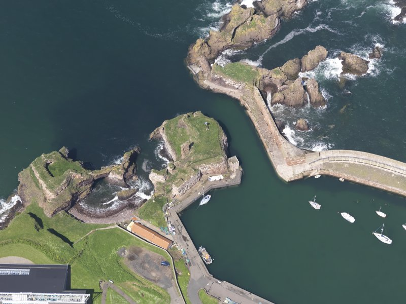 Oblique aerial view of Dunbar Castle, taken from the S.
