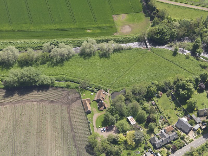 Oblique aerial view of Preston Mill, taken from the NNW.