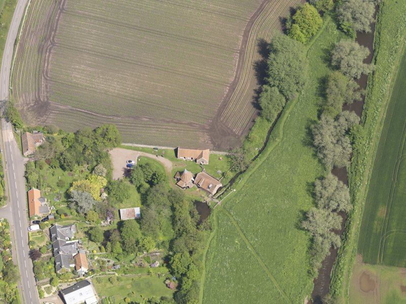 Oblique aerial view of Preston Mill, taken from the SW.