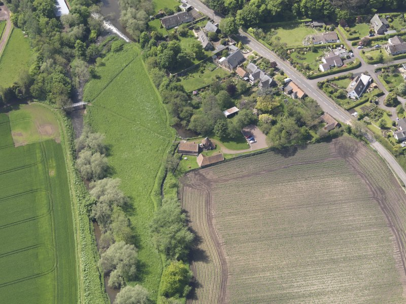 Oblique aerial view of Preston Mill, taken from the E.
