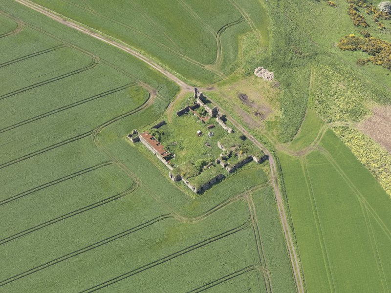 Oblique aerial view of Barnes Castle, taken from the E.