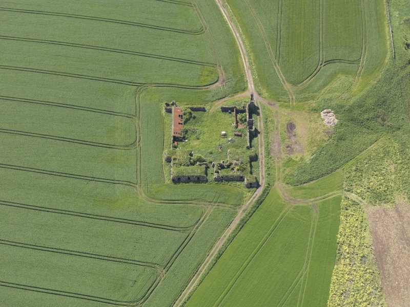 Oblique aerial view of Barnes Castle, taken from the ENE.