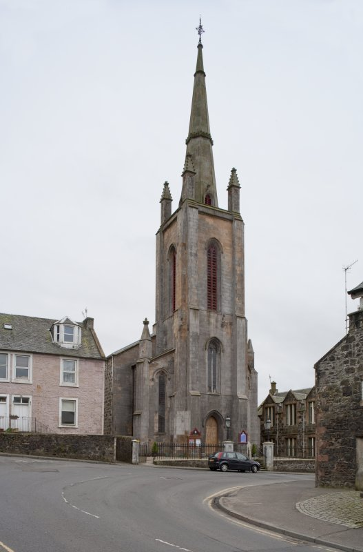 General view of Trinity Church and Church Hall, 26 Castle Street, Rothesay, Bute, from NE