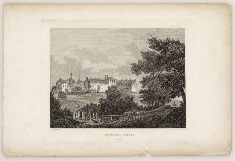 Drummond Castle. Engraved view of new house old castle and road in foreground.