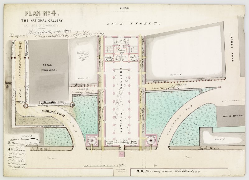 Drawing showing plan. Inscribed: 'Plan no 4. The Naitonal Gallery and lines of communication. Waverley Bridge -  plan of National Gallery, position of Waverley Bridge and line of communication'. Signed 'Rob. F. Gourlay, Feb 19 1850'.