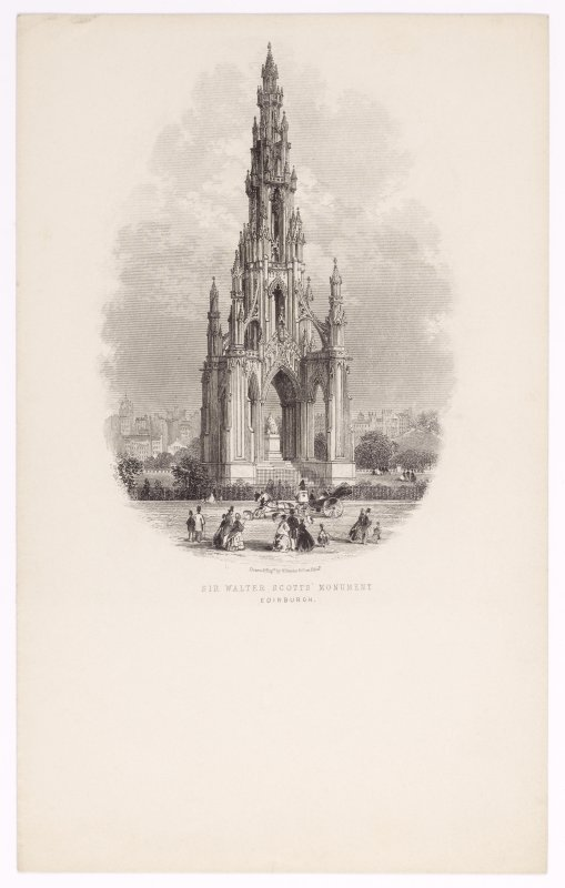 Illustrated letterhead with engraving titled 'Sir Walter Scotts' Monument, Edinburgh'. Inscribed: 'Drawn & Engd by W Banks & Son, Edin'.