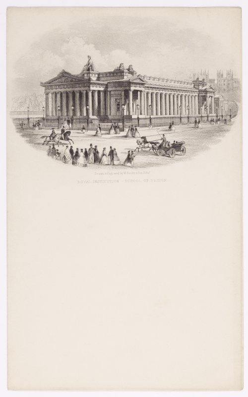 Illustrated letterhead with engraving showing the Royal Institution, Princes Street, Edinburgh.  Titled: 'Royal Institution - School of Design'. Inscribed: 'Drawn & Engraved by W Banks & Son, Edin'.
