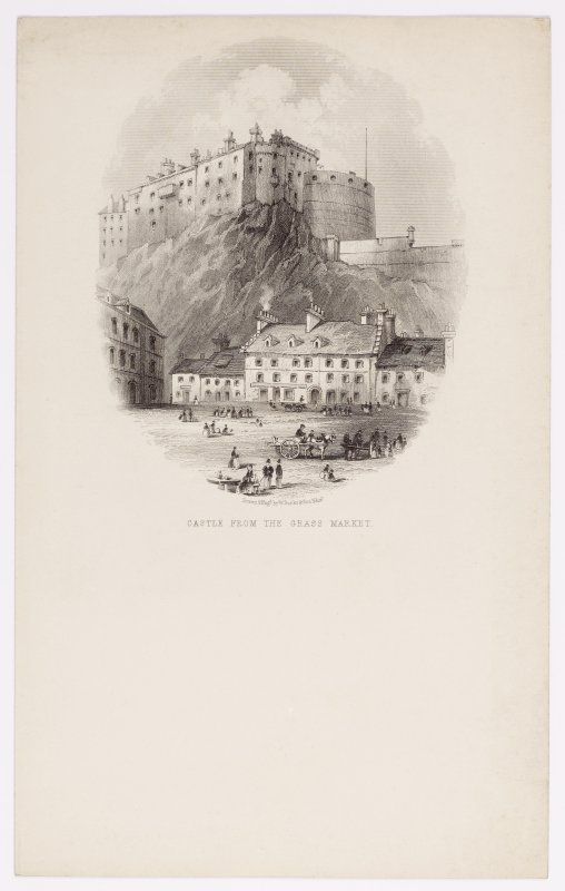 Illustrated letterhead with engraving showing Edinburgh Castle from the Grass Market. Inscribed: 'Drawn & Engd by W Banks & Son, Edin'.