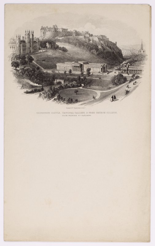 Illustrated letterhead with engraving titled 'Edinburgh Castle, National Gallery, & Free Church College, from Princes St. Gardens.' Inscribed: 'Banks & Co Engravers, Edin'.