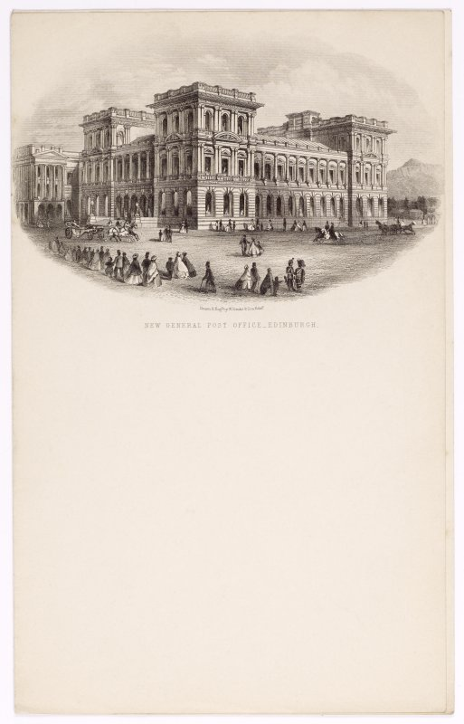 Illustrated letterhead with engraving titled 'New General Post Office, Edinburgh'. Inscribed: 'Drawn & Engd by W Banks & Son, Edin'.