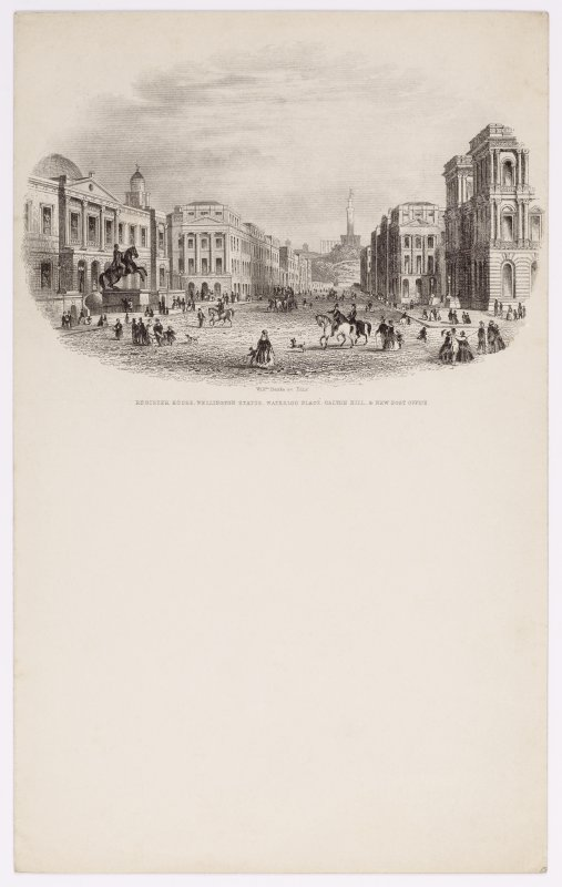 Illustrated letterhead with engraving showing general view across Waterloo Place, Edinburgh. Titled: 'Register House, Wellington Statue, Waterloo Place, Calton Hill & New Post Office'. Inscribed: 'Willm Banks sc Edin'.